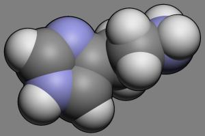 Гистамин играет одну из ведущих ролей в развитии аллергии. Вам представлен вид молекулы данного вещества.