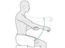 Больная рука расслаблена. Подъем руки осуществляется здоровой конечностью