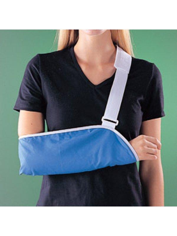 Иммобилизация плечевого сустава также может осуществляться косыночночной повязкой